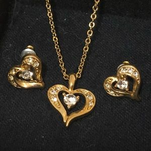 Matching Heart Necklace & Earring Set